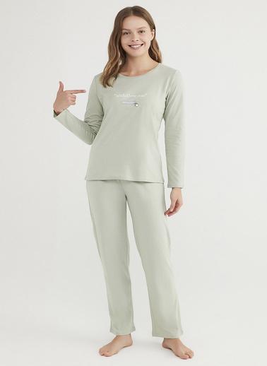 Penti Mint Yeşili Base Unfollow Pijama Takımı Yeşil